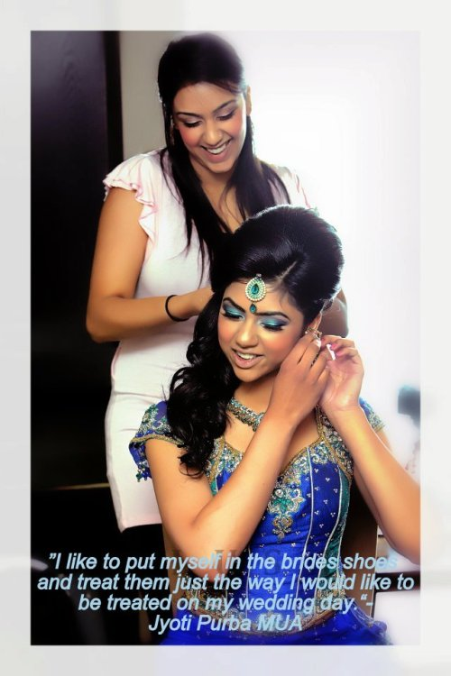 Jyoti Purba doing hair and makeup for a bride.