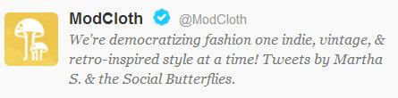 Mod Cloth Twitter