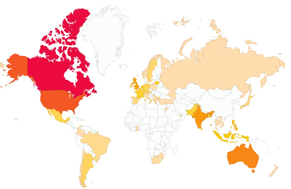 Our blog has received visits from people in over fifty different countries.